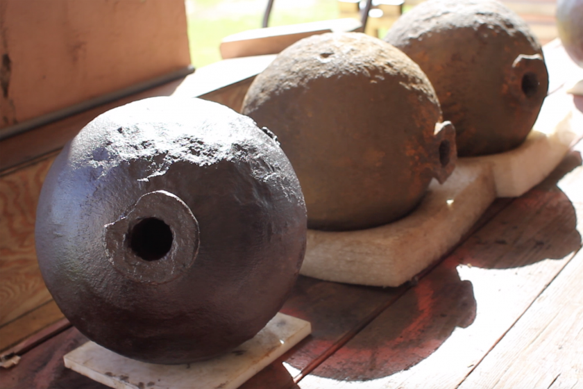 Historic cannonballs at San Juan National Historic Site